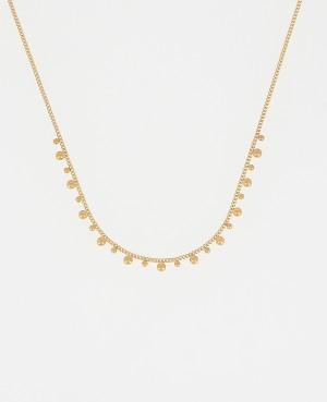 Collier acier doré perlé