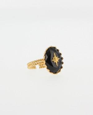 Bague Obsidienne noire Orné